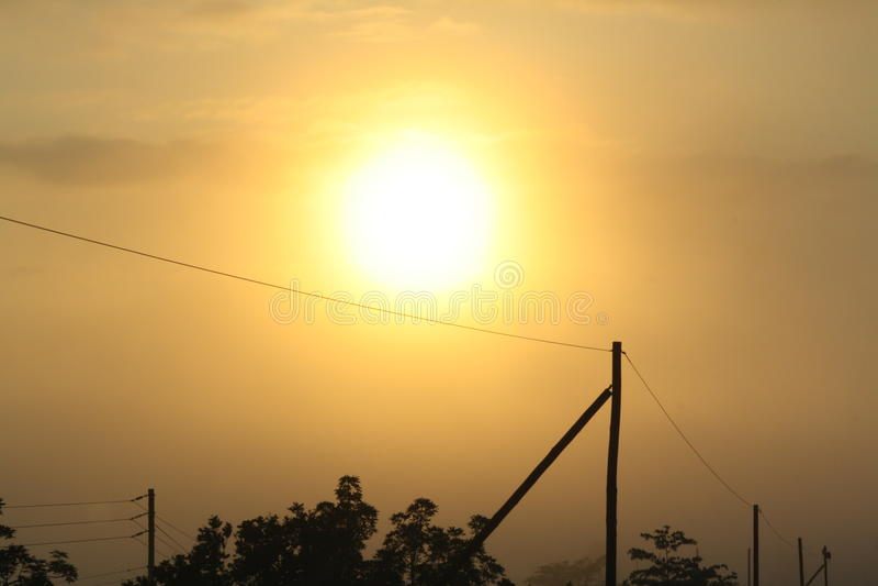 Alba sopra l'Africa rurale fotografia stock