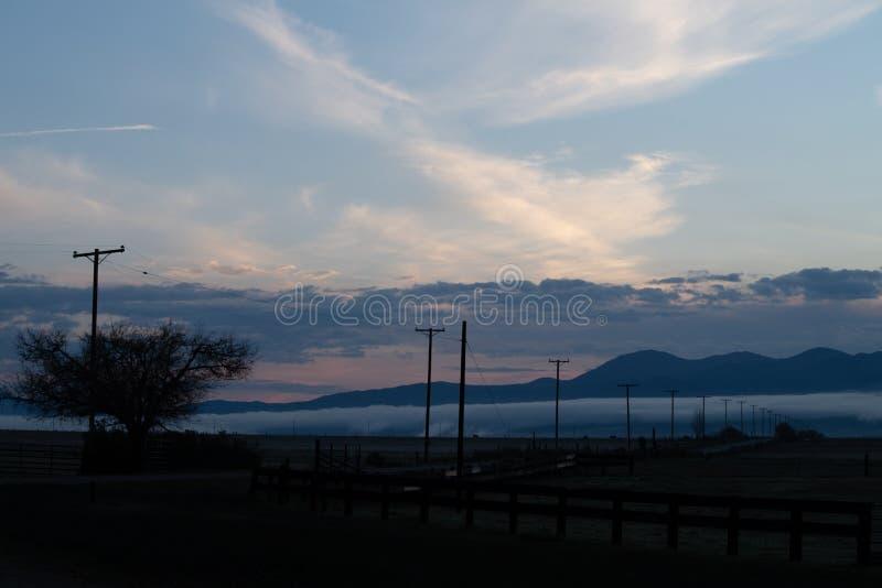 Alba sopra la valle di Bridgeport, California fotografia stock