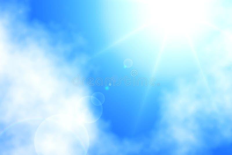 Alba sopra le nuvole con il fondo del cielo blu fotografie stock