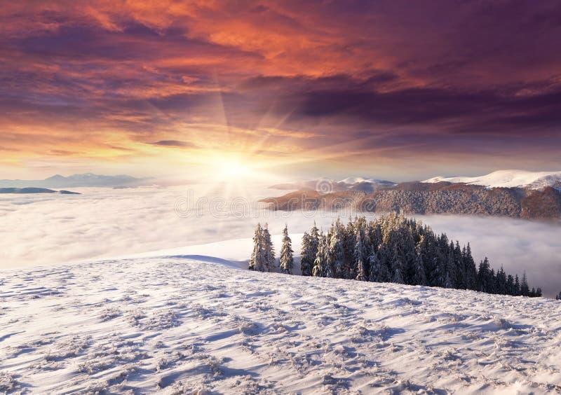 Alba spettacolare in un mare di nebbia nell'inverno fotografie stock libere da diritti