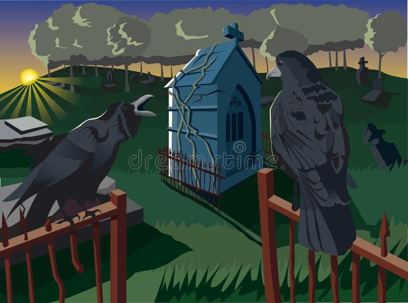 Alba sul cimitero e sui corvi illustrazione vettoriale