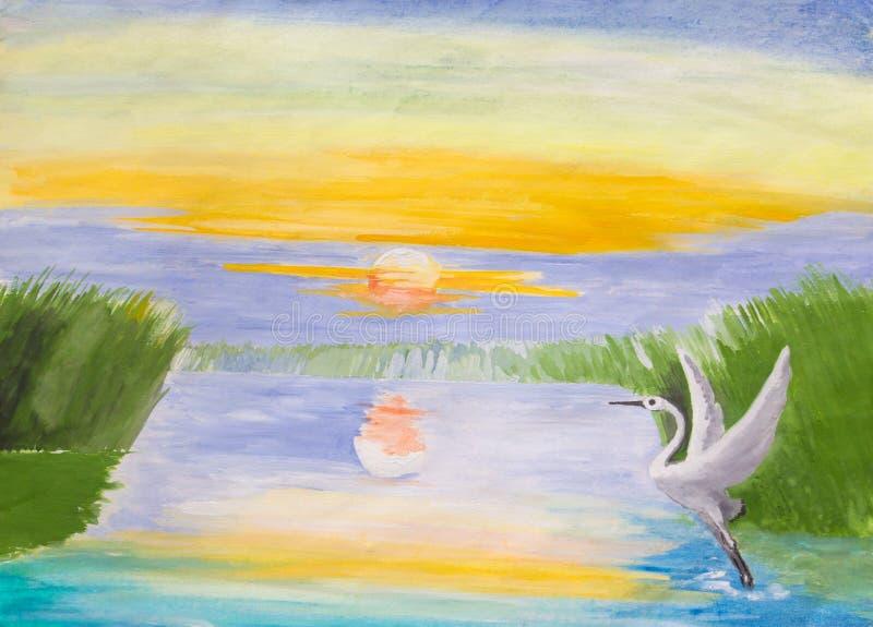 Alba sul lago royalty illustrazione gratis
