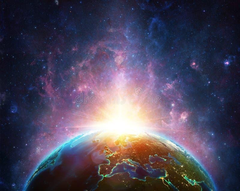 Alba sul pianeta della terra illustrazione di stock