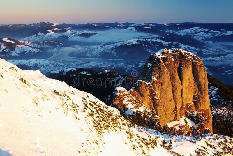Alba sul picco di Panaghia immagine stock