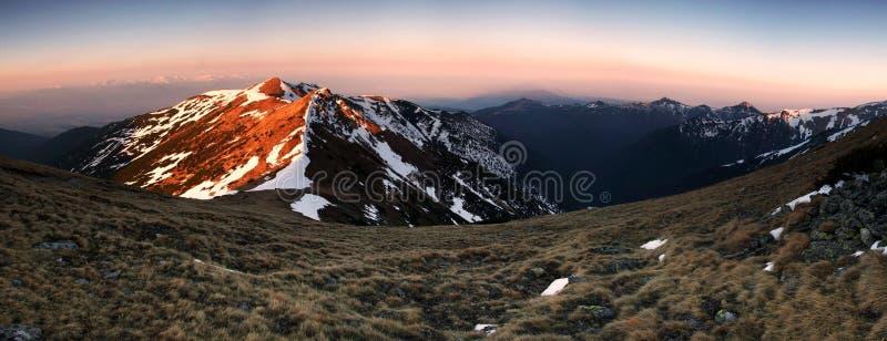 Alba in tatras occidentali Slovacchia fotografia stock libera da diritti