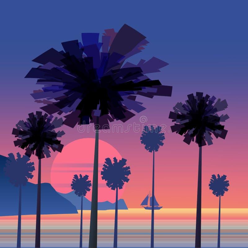 Alba tropicale alla spiaggia, paesaggio con le palme, illustrazione minimalistic del mare della barca a vela Alba di vista sul ma royalty illustrazione gratis