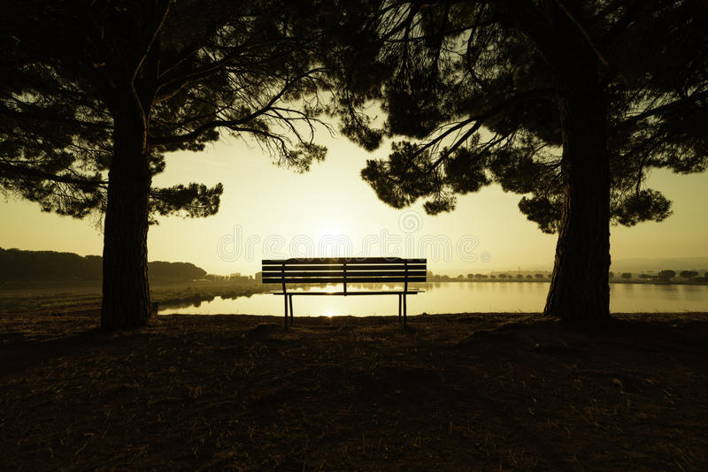 Alba in un parco di Manresa, Spagna fotografia stock