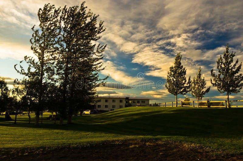 Alba vicino al lago Laugarvatn, Islanda del sud fotografie stock libere da diritti