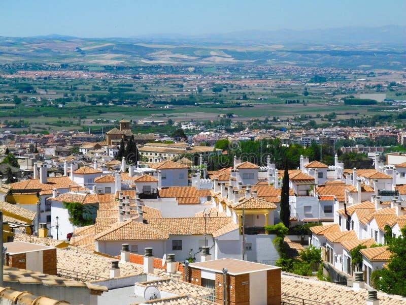 Albaicin gammal muslimfjärdedel, område av Granada i Spanien Hous arkivfoto