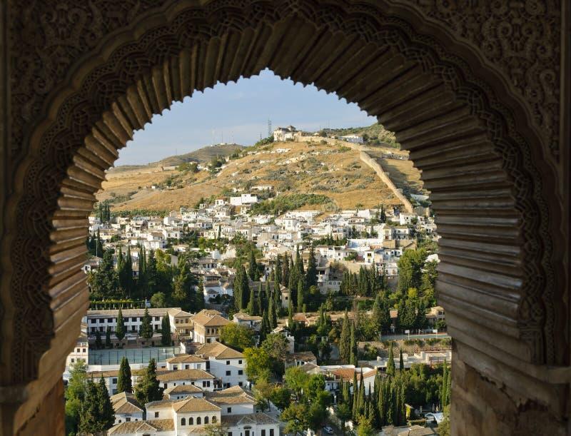 The Albaicin of Granada through a Moorish window royalty free stock photography