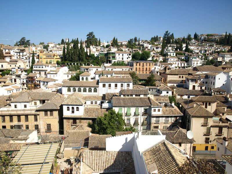 albaicingranada panorama- sikt arkivfoto