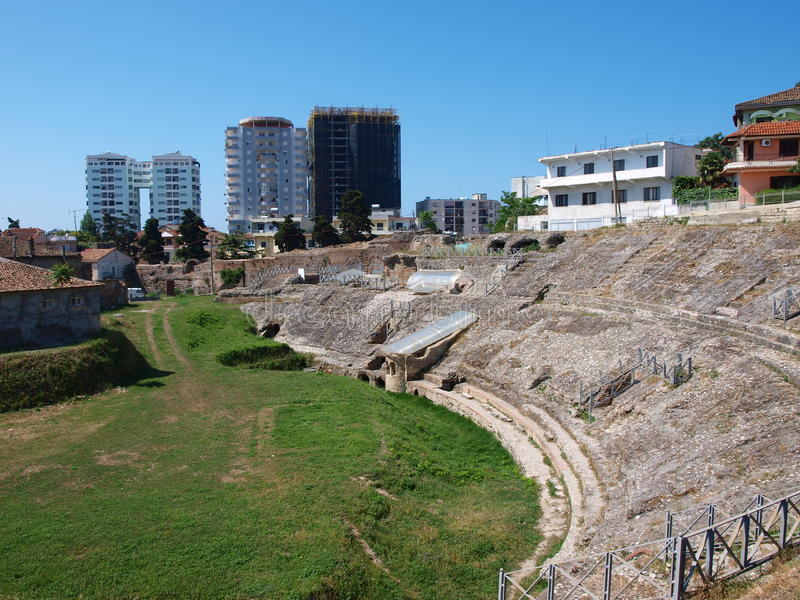 albania durres theatre royaltyfri bild