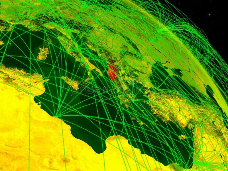 Albania en el globo digital stock de ilustración
