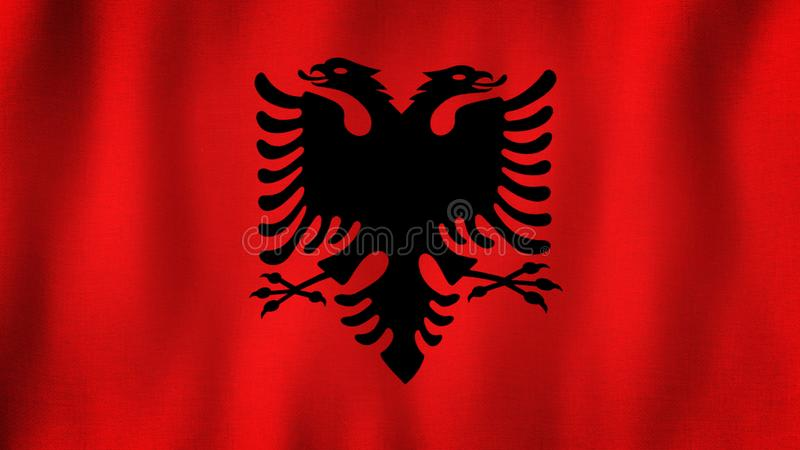 Albania flag waving in the wind. Closeup of realistic Albanian flag with highly detailed fabric texture vector illustration