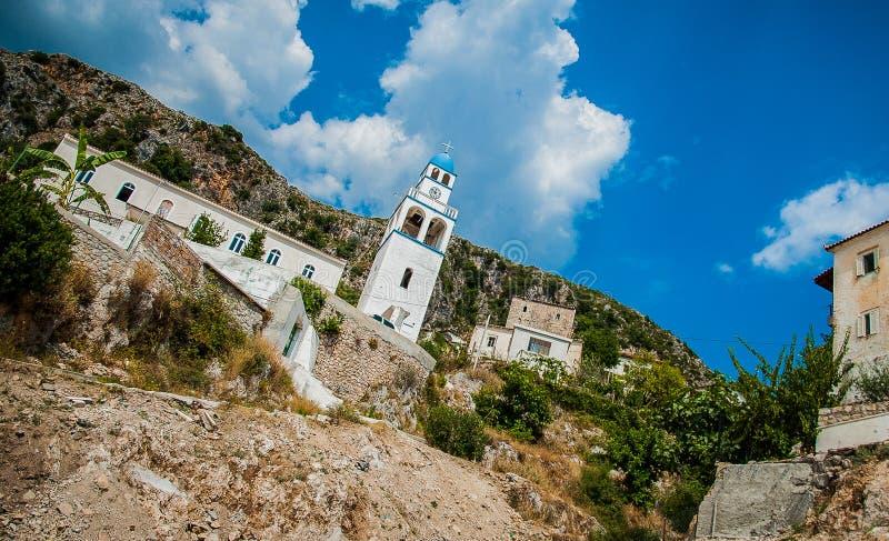 2016, Albania, Llogara National Park, Llogara Pass. Vlore county, view to the bay and beach. Beautiful landscape church next to the road royalty free stock photo