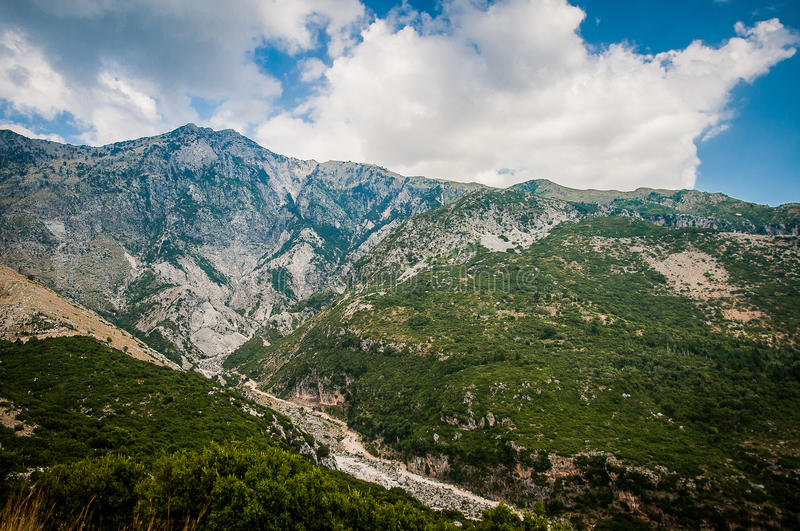 2016, Albania, Llogara National Park, Llogara Pass. Vlore county, view to the bay and beach. With a cloudy sky stock image