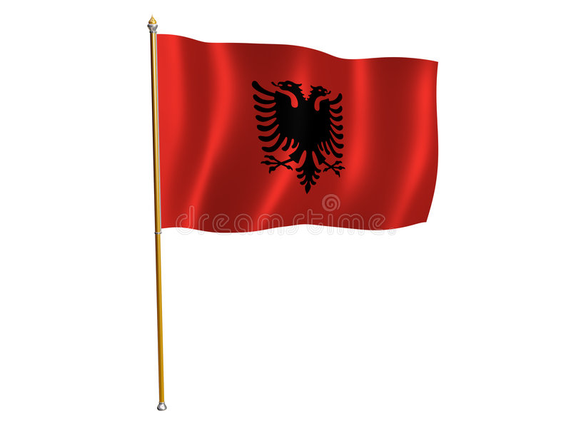 Albania silk flag vector illustration