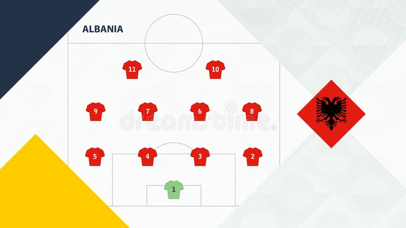 Albania team preferred system formation 4-4-2, Albania football team background for European soccer competition.  vector illustration