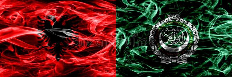 Albania vs Arabskiego ligi dymu flaga umieszczająca strona strona - obok - Gęste barwione silky dymne flagi Albański i Arabski li ilustracji