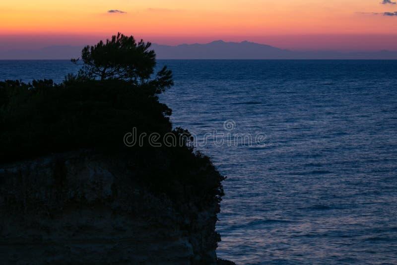 Albanian coast seen from the Apulian coast, Otranto, Italy stock photo