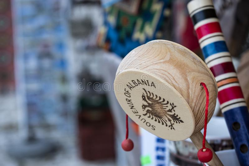 The Albanian Double-head Eagle. The Albanian National Double-head Eagle printed in a hand drum, flag, music, musical, instrument, patriotic, patriotism, souvenir royalty free stock image