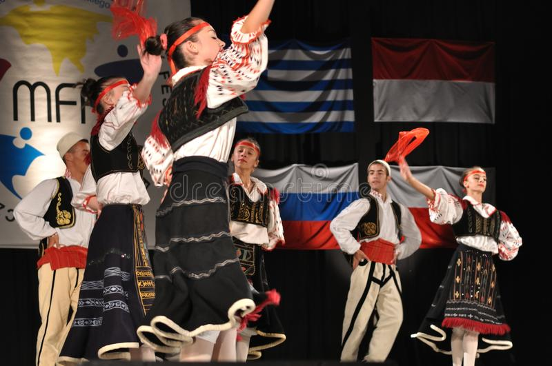Albanian folklore. The National Folklore Ensemble from Albania - performs folk dances during the International Folklore Festival WARSFOLK on August 19, 2010 in stock images