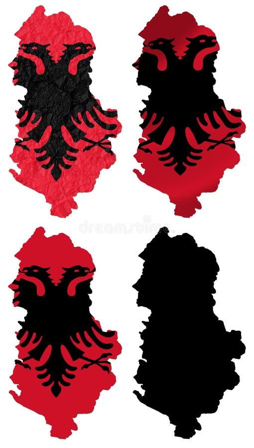 Albanien-Flagge über Karte lizenzfreie abbildung