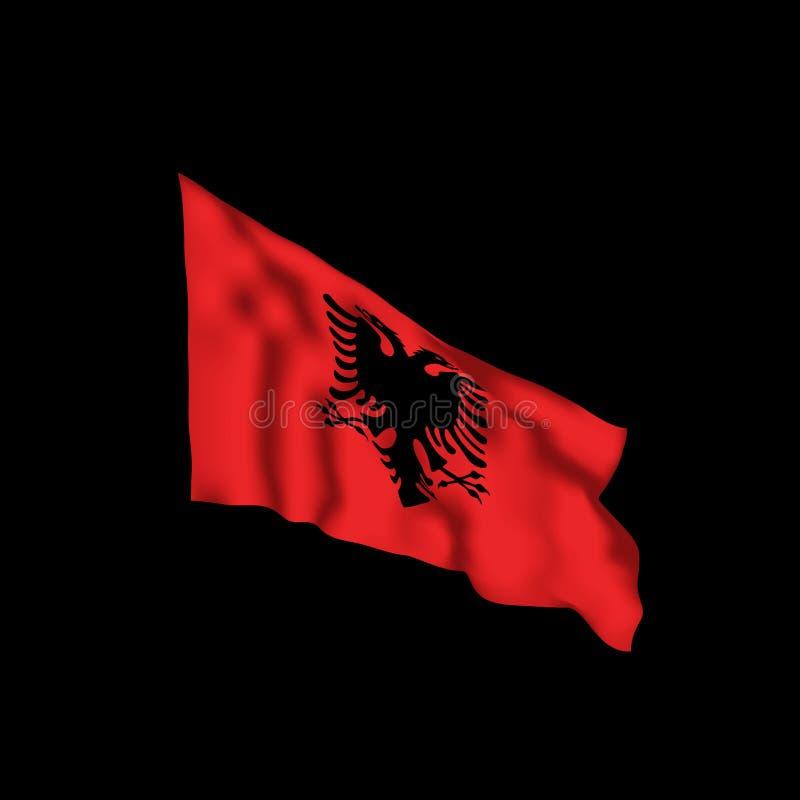 Albanien-Flagge im Wind Auch im corel abgehobenen Betrag stock abbildung