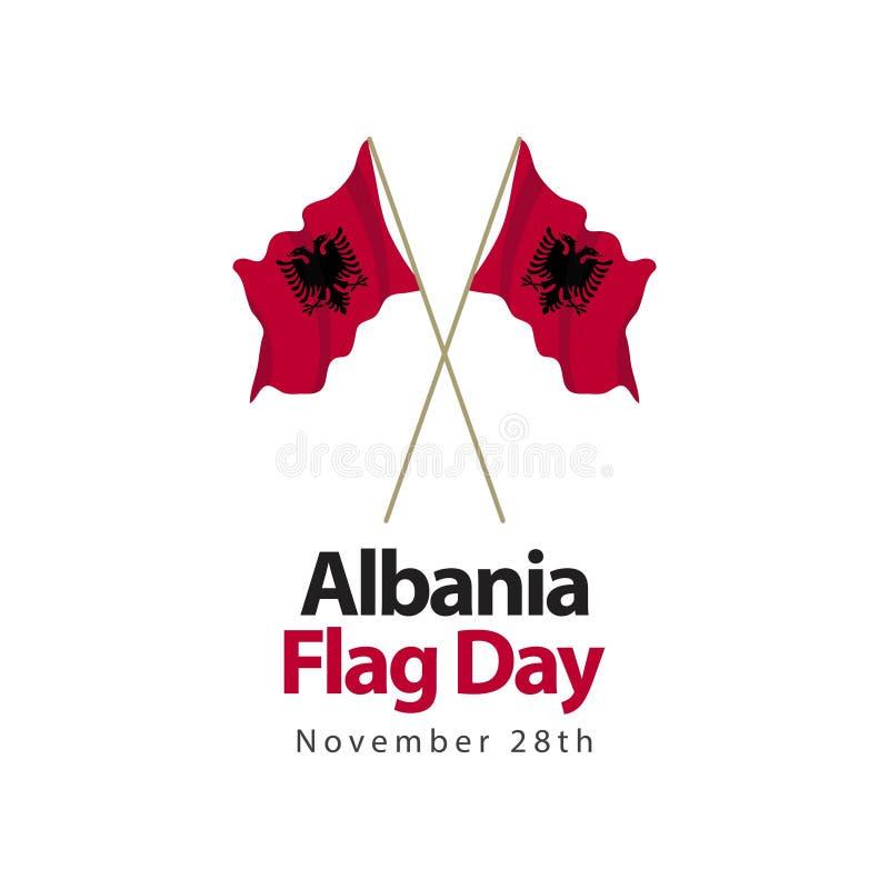 Albanien-Flaggen-Tagesvektor-Schablonen-Entwurfs-Illustration stock abbildung