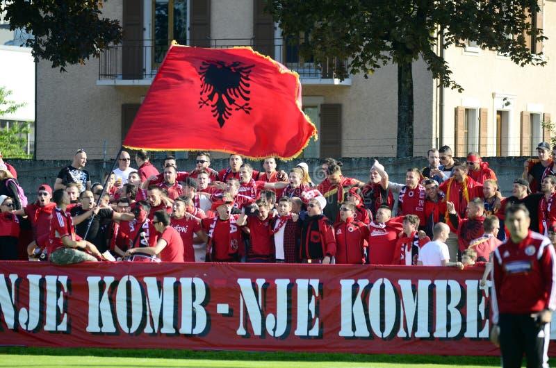 Albanien fotbollsfan arkivbild