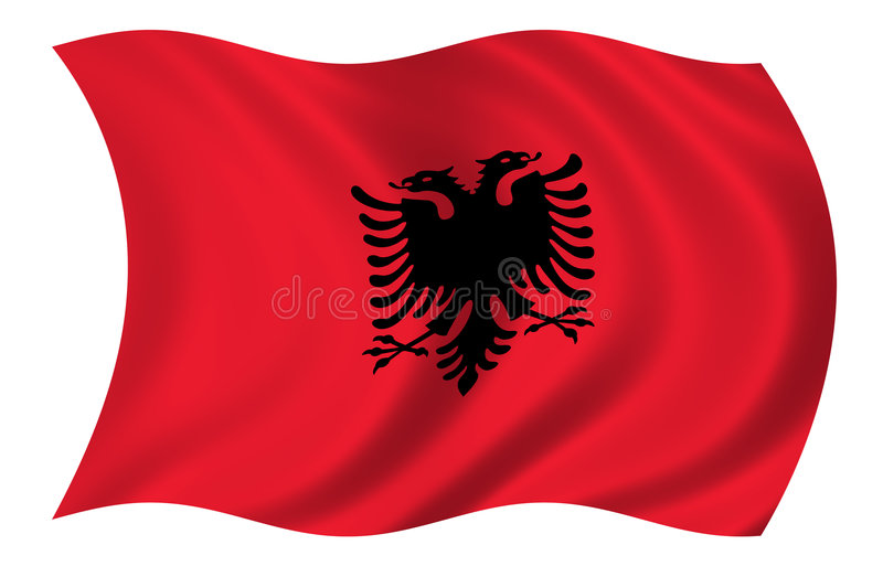 Albanien-Markierungsfahne stock abbildung