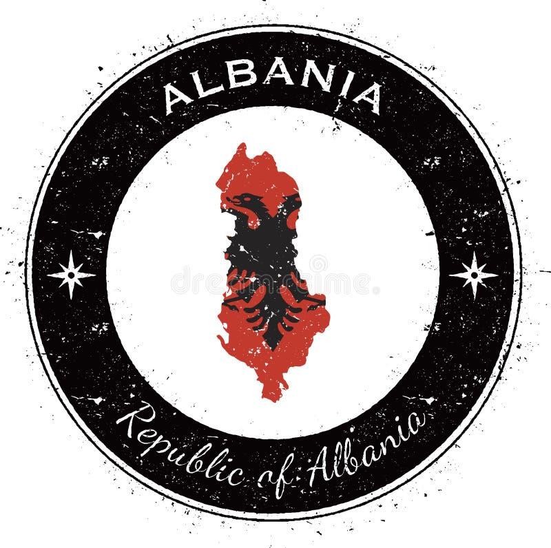 Albanien runt patriotiskt emblem royaltyfri illustrationer