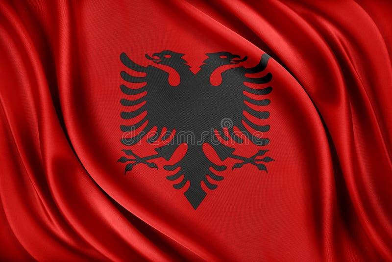 Albanien sjunker Flagga med en glansig siden- textur stock illustrationer
