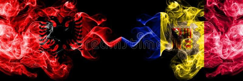 Albanien som ?r albansk, Andorra, tjocka f?rgrika r?kiga flaggor f?r andorransk konkurrens Europeiska fotbollkvalifikationlekar vektor illustrationer