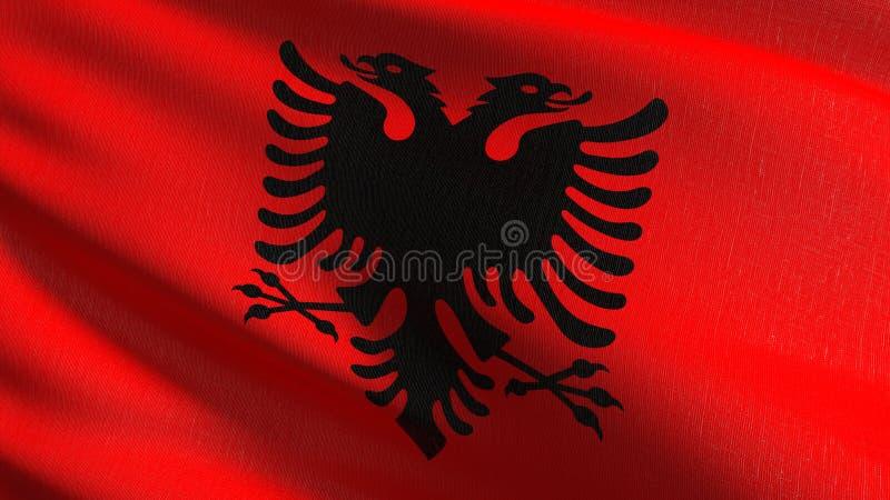 Albanien-Staatsflagge, die im Wind durchbrennt Offizieller patriotischer abstrakter Entwurf Illustration der Wiedergabe 3D des we vektor abbildung