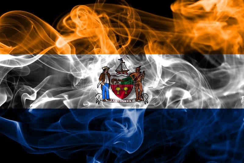 Albanien-Stadtrauchflagge, neuer Yor-Zustand, die Vereinigten Staaten von Amerika vektor abbildung