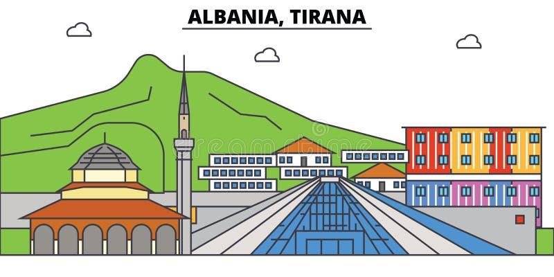 Albanien, Tirana, Islam Stadtskyline, Architektur, Gebäude, Straßen, Schattenbild, Landschaft, Panorama, Marksteine vektor abbildung