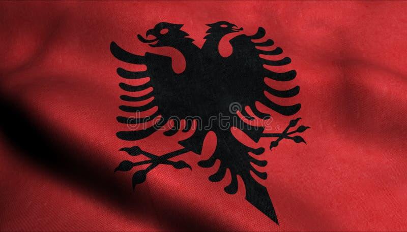Albanien vinkande flagga i 3D stock illustrationer