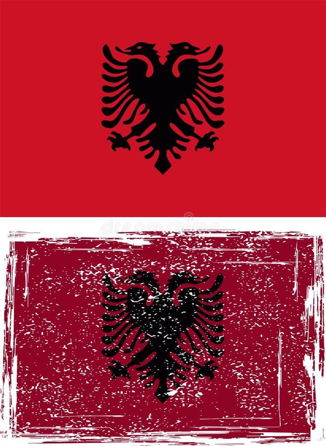 Albansk grungeflagga. Vektor stock illustrationer