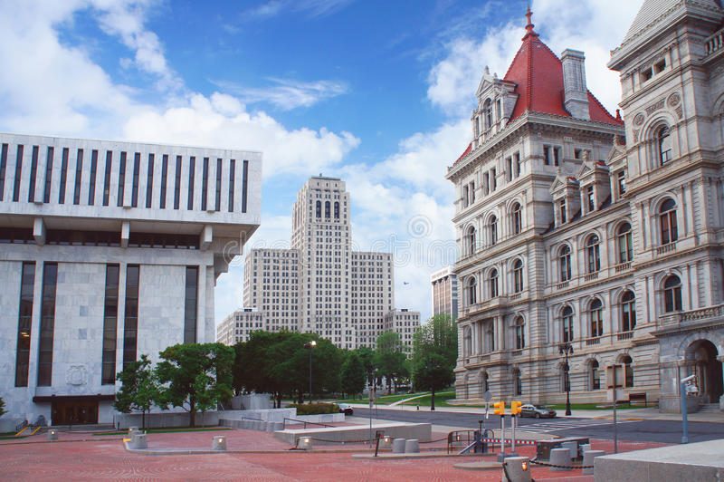 Albany, New York state capital, street view. USA - New York State Capitol, New York liquor authority building stock photo