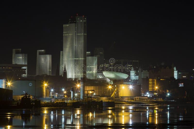 Albany, NY na noite foto de stock