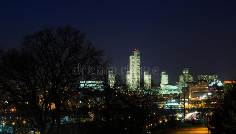 Albany NY at night from Rennsaeler on the Hudson River with light reflections. Albany NY along the Hudson River at night with light reflections. Winter with ice royalty free stock images