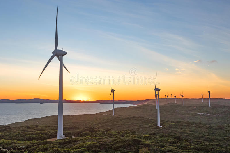 Albany Wind Farm Sunset. Sunset at Albany Wind Farm, near the town of the same name in Western Australia stock image