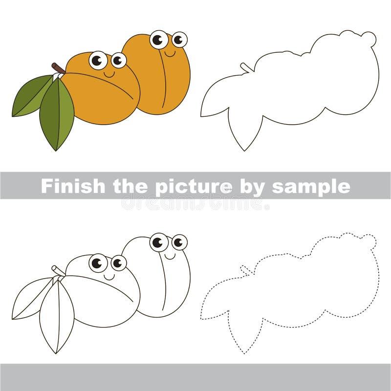 Albaricoque divertido Hoja de trabajo del dibujo ilustración del vector