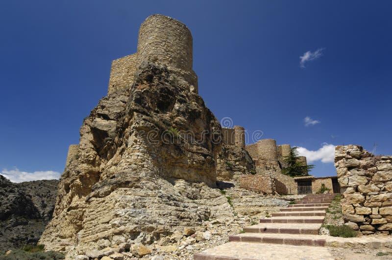 Albarracin,特鲁埃尔省,阿拉贡,西班牙城堡  免版税库存图片