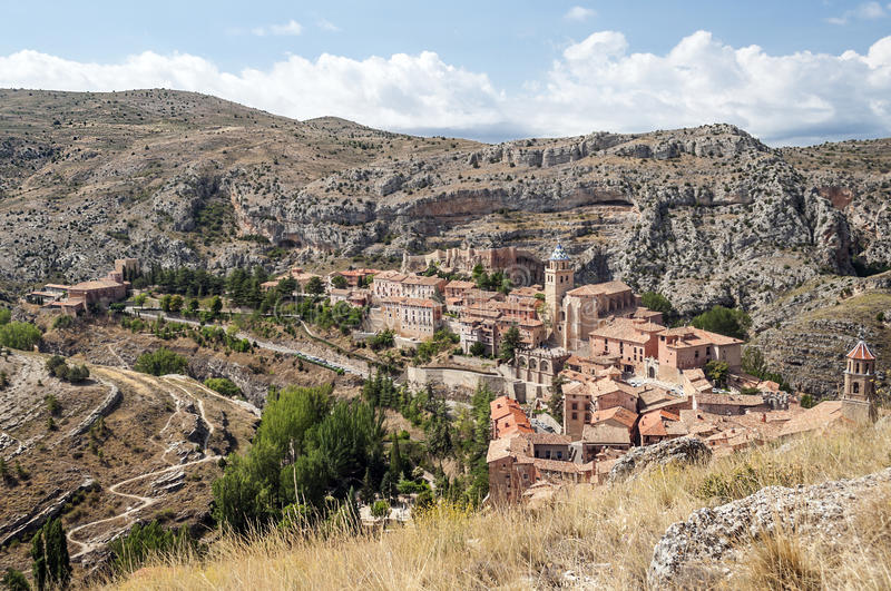 Download Albarracin village stock image. Image of cloudy, mountains - 33680705