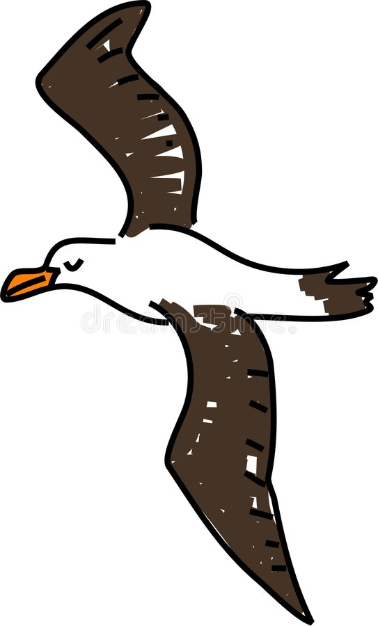 Albatross. An albatross bird isolated on white drawn in toddler art style royalty free illustration
