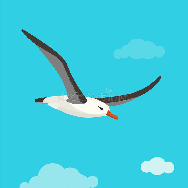 Albatross bird is flying in cloudy sky. Colorful vector flat illustration royalty free illustration