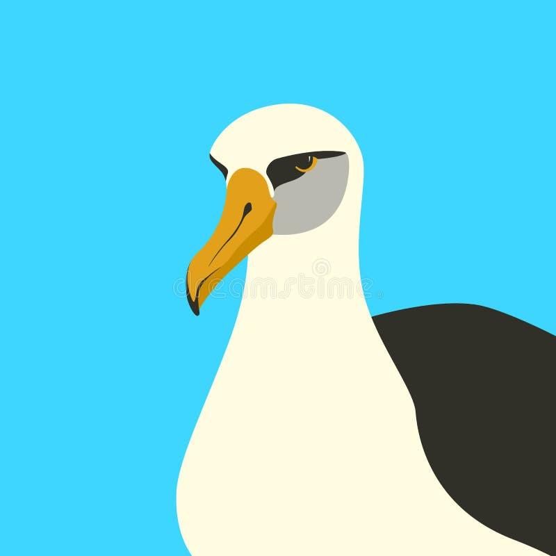 Albatross bird vector illustration flat style front. Side royalty free illustration