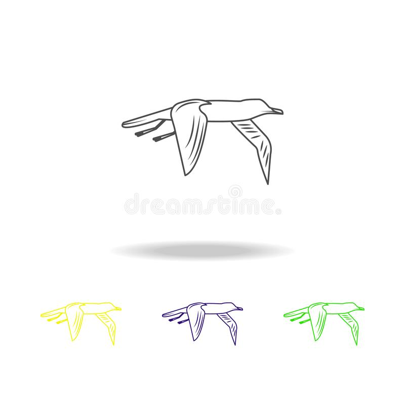 Albatross multicolored icons. Element of popular sea animals icon. Premium quality graphic design outline icon. Signs and symbols. Outline icon for websites royalty free illustration